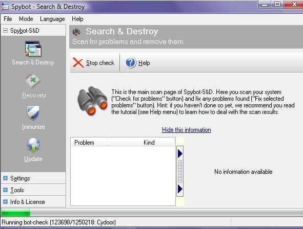 spybot malware removal tool