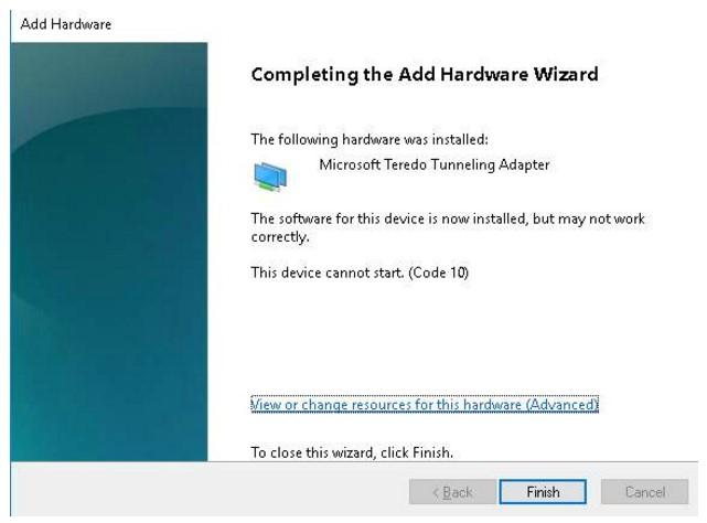 Fix and Install Microsoft Teredo Tunneling Adapter Driver